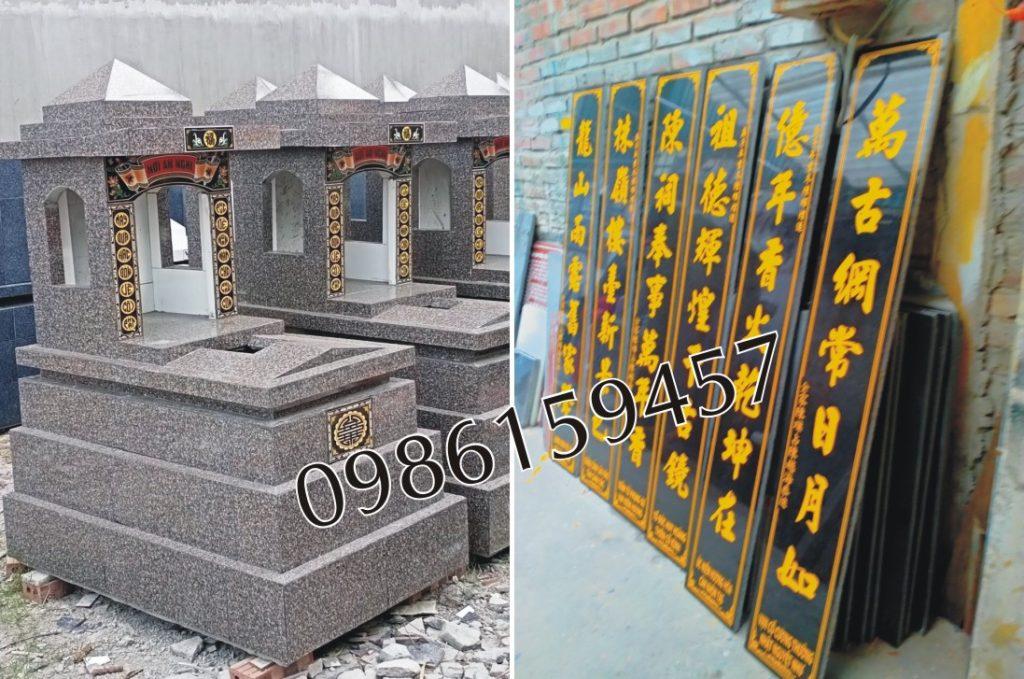 Câu đối và mộ đá granite